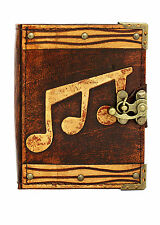 Triple Music Decoration Brown Leather Journal / Diary / Notebook / Notepad