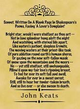 A4 Parchment Poster  JOHN KEATS - Sonnet on a Blank Page  -  +Greetings Option