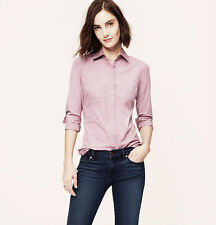 NWT ANN TAYLOR LOFT Violet Essential Softened Collared Long Sleeve Button Shirt