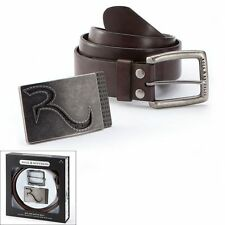ROCK & REPUBLIC Mix and Match BELT Two BUCKLES RETAIL $55 LEATHER BROWN 3 PC SET