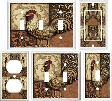 ROOSTER TUSCAN PATCHWORK KITCHEN DECOR LIGHT SWITCH COVER OR OUTLET V762