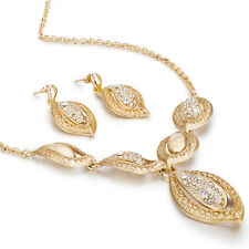 Janeo Floral Leaf Design Jewelry Set Pendant Necklace Earrings,14K Gold Gift Her