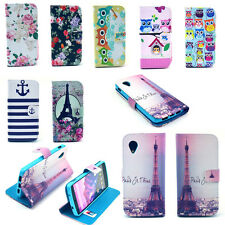 Cute Fashion Printed Pattern PU Leather Flip Cover Stand Wallet Phone Case