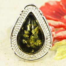 SOLITAIRE OVAL TEARDROP GREEN PRESSED BALTIC AMBER RING SIZE 6 7 8 9 10 R62-4