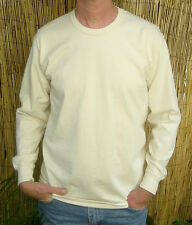 Organic Cotton Long Sleeve Tee Shirts Made in USA Natural color