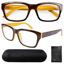 Spring Hinges Large Square Frame Reading Glasses Sun Readers Men W/case R045