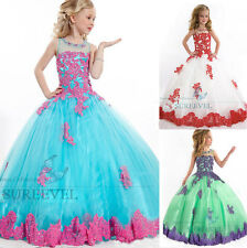 Lace Appliques Wedding Party Princess Dress Flower Girls Dress Pageant Ball Gown