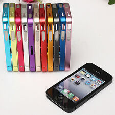 clip-on Ultra Thin Slim Aluminum Alloy Metal Flat Bumper Case GS for iPhone 4S 4