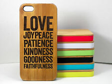 Love Joy Peace Case for iPhone 5C Bamboo Wood Cover Fruit of the Holy Spirit