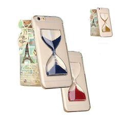 "For iPhone 6 4.7"" Plus 5.5"" 3D Crystal Clear Hourglass Sand Hard Back Case Cover"
