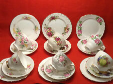 Vintage Bone China England Tea Cup Saucer & Side Plate Trios Set Pretty Flowers