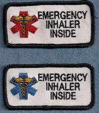 "EMERGENCY INHALER INSIDE service dog vest patch 1.5"" x 3"""