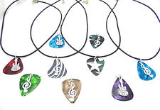 Music Necklace, Guitar Pick Necklace - Personalize - Music Note, Guitar, Treble