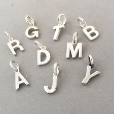 .925 Sterling Silver Small ALPHABET CHARM Letter Initial Tiny Pendant NEW 925
