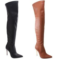 NEW Womens Thigh High Pointed Toe Boots w/ Vegan Leather, Metallic Stiletto Heel
