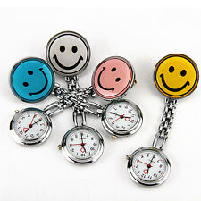 4 Colors Smile Face Nurse Watch Round Dial Silicone Pocket Pin Tunic Fob