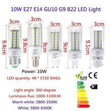 E27/E14/B22/GU10/G9 10W 48 SMD 5730 LED Corn Bulb 360°White Light Lamp 110V/220V