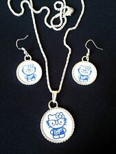 Hello Kitty  Dodgers Baseball Necklace And Dangle Earrings Set *A MUST HAVE*