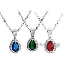 Women Alloy Necklace Crystal Glass Water Drop Pendant Rhinestone Hot