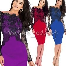 Sexy Women Lady Vintage Lace Sleeve Cocktail Evening Party Bodycon Pencil Dress