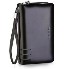 Men real leather fashion day clutch wrist handbag zipper ID purse cash holder