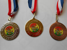 WOMENS ATHLETICS MEDALS - 50 MM METAL - WITH RD/WHT/BL RIBBON-CHOOSE COLOUR