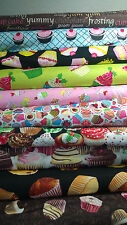 CUPCAKE PRINT DESIGN FABRICS  100% COTTON  - BY THE YARD