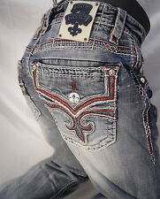 Mens ROCK REVIVAL JEANS Straight Leg Red White Stitch Flap Pocket Gordian J NWT