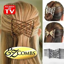 EZ Magic Double Comb Stretchy Easy Hair Syling Combs Double Clip 2 Per Pack