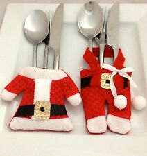 FATHER CHRISTMAS CUTLERY HOLDERS/XMAS TABLE DECORATION PLACE SETTING UK SELLER