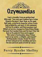 A4 Parchment Poster Poem Shelley -  Ozymandias.  -  Greeting Card Option Availab