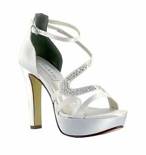 Being Discontinued 3 LEFT! Dyeable White Satin Fancy Platform Heel Bridal Shoe