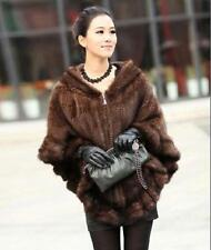 NEW Knitted Genuine MINK Fur Jacket Coat Shawl Cape hooded 2 colors