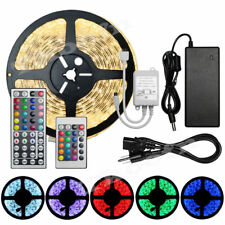 5M 3528/5050 SMD Waterproof Strip Light 300LEDs 24/44 Key IR Remote 12V 5A Power