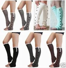 Womens Crochet Knit Button Leg Warmers Lace Trim Toppers Boot Socks CUFFS