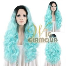 """18""""-28"""" Long Curly Black Dark Roots with Aqua Blue Lace Front Synthetic Wig"""