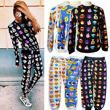 Men Women 3D EMOJI Funny Printed SWEATPANTS Jogger Pants Swearters SET Plus Size
