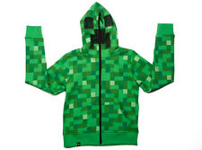 Green Minecraft Creeper Full Zip-Up Kids Youth Hoodie Sweatshirt
