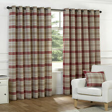RED BEIGE TARTAN Curtains Check Natural COTTON Look Eyelet 66 90 108 PATIO