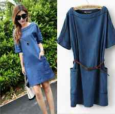 2014 New Women's Fashion Casual Washed Jean Skirt Loose Denim Dress+Belt S-3XL