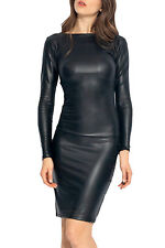2016 Reversible Faux Leather Midi dress Sexy women evening clubwear