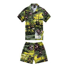 Boy Toddler Aloha Shirt Set Shorts Beach Hawaii Cruise Luau Cotton Green Sunset