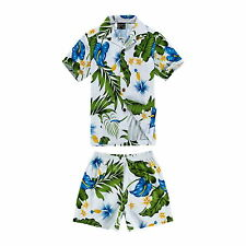 Boy Toddler Aloha Shirt Set Shorts Beach Hawaii Cruise Luau Cotton Blue Calla