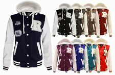 WOMENS R VARSITY BASEBALL BOMBER HOODIE LADIES POCKETS BUTTONED JACKET TOP 8-14