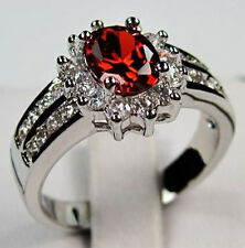 Red Ruby WOMAN Lady's 10KT White Gold Filled Ring Size 6/7/8/9/10 A137