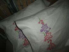 OLD FASHIONED (PAIR) EMBROIDERED PILLOWCASES WHITE PINK PURPLE HEMSTITCHED