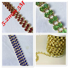 SS24 (5.2mm) Rhinestone Chain Cup Sew On Square Crystal Glass 2M