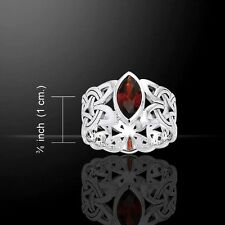 Viking BORRE Weave Ring .925 S Silver Garnet NORSE Scandinavian knotwork ring