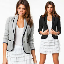 New Women Blazer Casual OL Short Collar Slim One Button Jacket Suit Coat Outwear