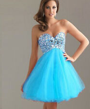 New blue short Bridesmaid Dress Formal Cocktail Prom Ball Party Evening Size6-18